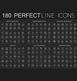 180 modern thin line icons on dark black vector image vector image