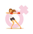 angry woman boxing wearing boxing gloves feminism vector image