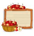 apple in basket on wooden banner vector image vector image
