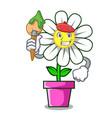 artist daisy flower character cartoon vector image