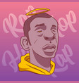 black man with a halo on a background of pink vector image vector image