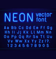 bright glowing blue neon alphabet letters and vector image vector image