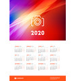 calendar poster for 2020 year week starts on vector image