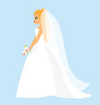 cartoon bride happy female in fashionable wedding vector image