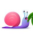 cartoon funny snail eating a leaf vector image