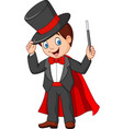 cartoon magician holding magic wand vector image vector image