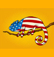 chameleon colored in american flag pop art vector image vector image
