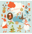 christmas background collection icons vector image