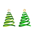 Christmas ribbon trees vector image vector image
