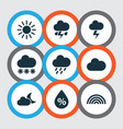 climate icons set collection of douche moonlight vector image vector image
