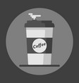 coffee cup icon with text coffee on grey vector image vector image