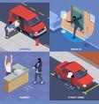 crime isometric 2x2 set vector image