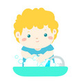 cute boy washing hands vector image vector image