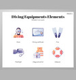 diving equipments icons gradient pack vector image