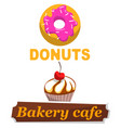 donuts bakery cafe banners meal snacks dessert vector image vector image