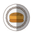 emblem hamburger bread icon vector image vector image