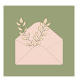 envelope with flowers on white background vector image