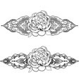 ethnic indian line art border with flowers vector image