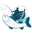 fisherman in a boat and fish design vector image vector image