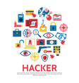 flat hacking round concept vector image vector image