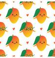 fresh mango fruit characters seamless pattern vector image vector image