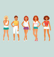 girls in summer clothes vector image