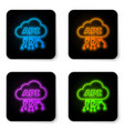 glowing neon cloud api interface icon isolated on vector image vector image