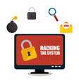 hacking the system concept icons vector image vector image