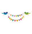 happy birthday birds holding in their beaks the vector image vector image