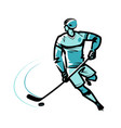 hockey player sketch vector image