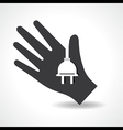 Human hand with electric plug symbol concept vector image vector image