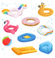 inflatable rubber mattresses balls and other vector image