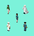 isometric human set of officer seaman medic and vector image vector image