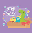 kids zone filled box train and green dinosaur vector image