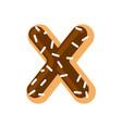 letter x donut font doughnut alphabet sweet vector image vector image