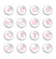linear baby care icons set on white stickers vector image vector image