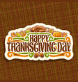 logo for thanksgiving day vector image vector image