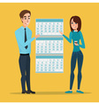 man and woman show Deadline and calendar time and vector image
