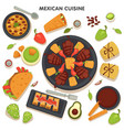 mexican cuisine collection traditional dishes vector image vector image