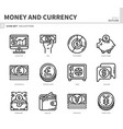 money and currency icon set vector image