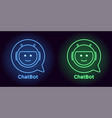 neon chat bot in blue and green color vector image