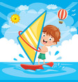 of kid windsurfing vector image vector image