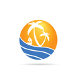 palm with sea icom color vector image vector image