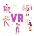 people use virtual reality technology concept vector image