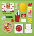pizzeria identity template mockup vector image vector image