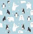 polar bears with penguins saemless pattern vector image vector image