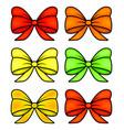 ribbon bow set for christmas present symbol vector image