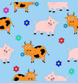 seamless texture consisting of pigs and cows vector image vector image