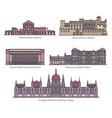 set european parliament buildings in thin line vector image