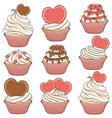 Set of color cupcakes with hearts vector image